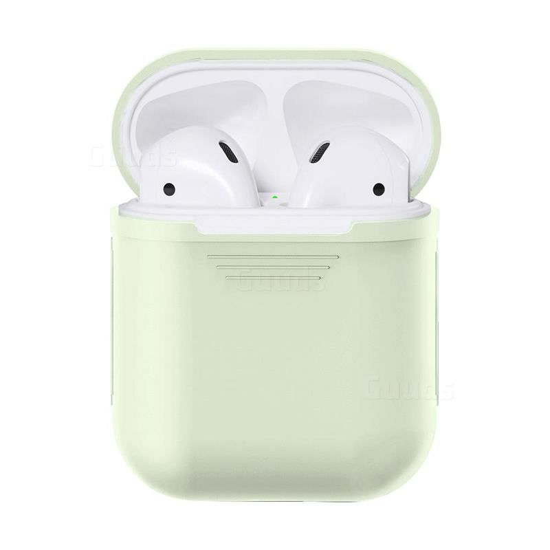 Matte Anti Fall Silicone Protective Case For Apple Airpods Fluorescence Green Airpods 1 2 Cases Guuds Protective Cases Silicone Phone Case Case