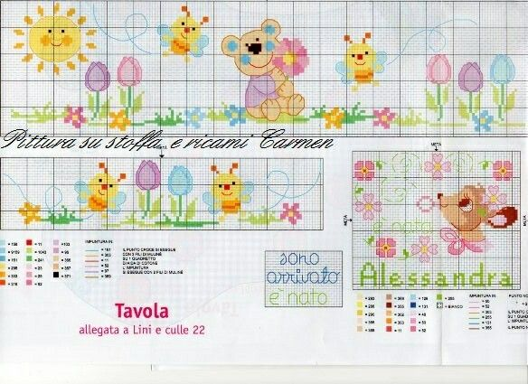 Schema per lenzuolino cross stitch pinterest cross for Lenzuolini punto croce schemi