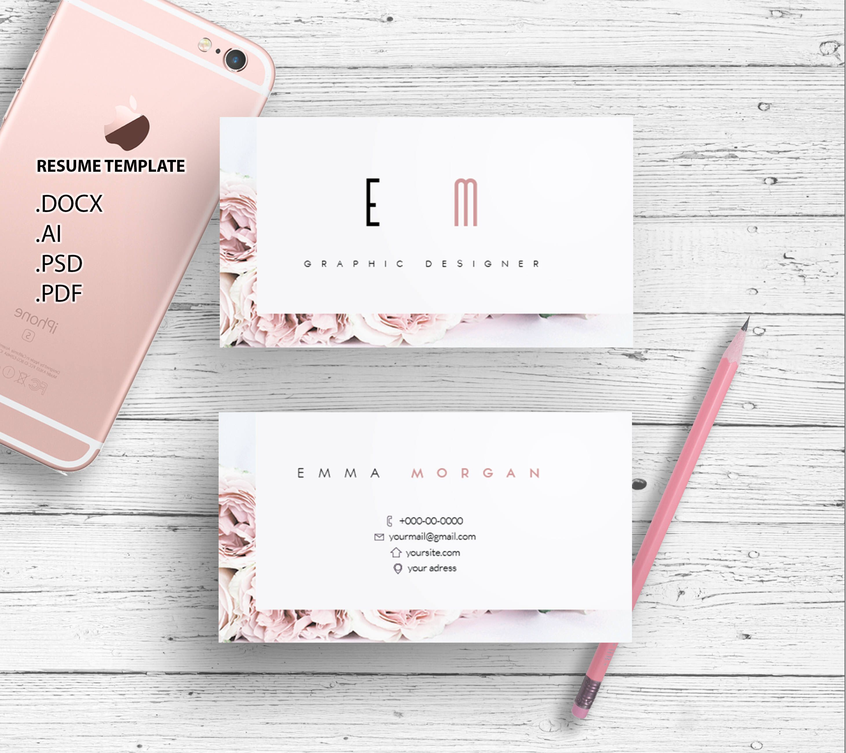 Roses business card template creative card design morden roses business card template creative card design morden business card calling card by showy68template on etsy reheart Choice Image