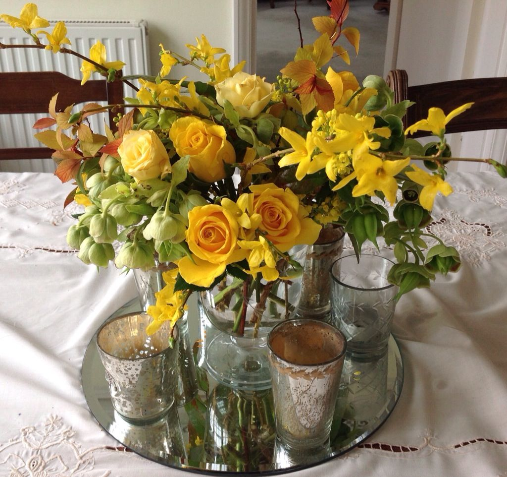 Bright Yellow Rose And Forsythia Table Arrangement By The Gorgeous