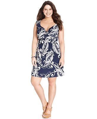 Style Co Plus Size Sleeveless Printed A Line Dress Macy S Just