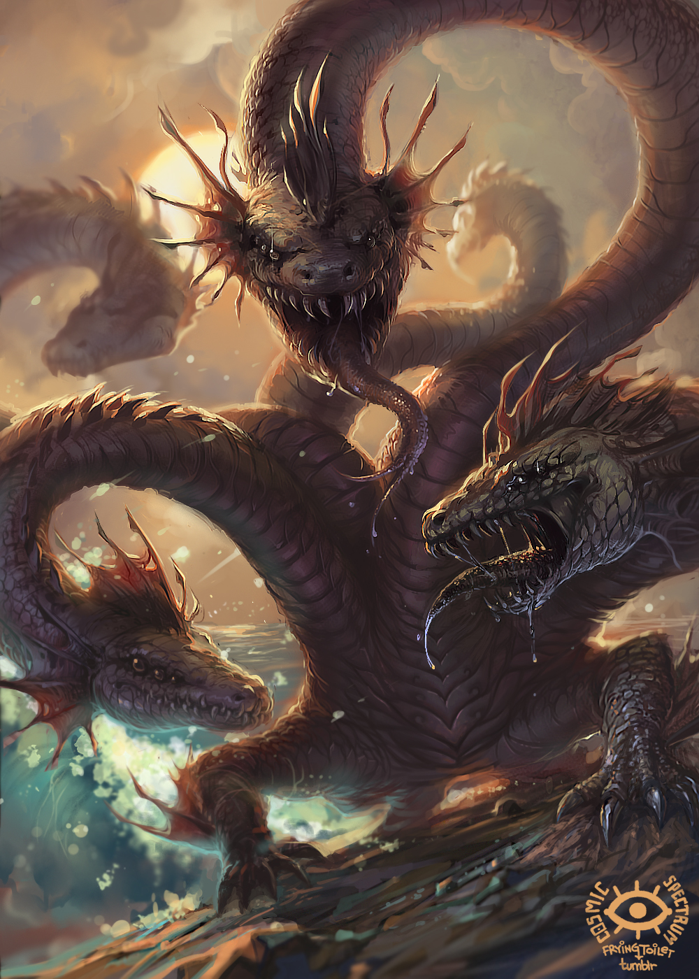 Titans Hydra By Cosmicspectrumm On Deviantart Hydra Mythology Fantasy Beasts Fantasy Dragon