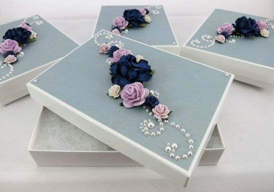 Bridesmaids Gift Boxes in Lavender and Navy by AluminumButterfly, $32.00