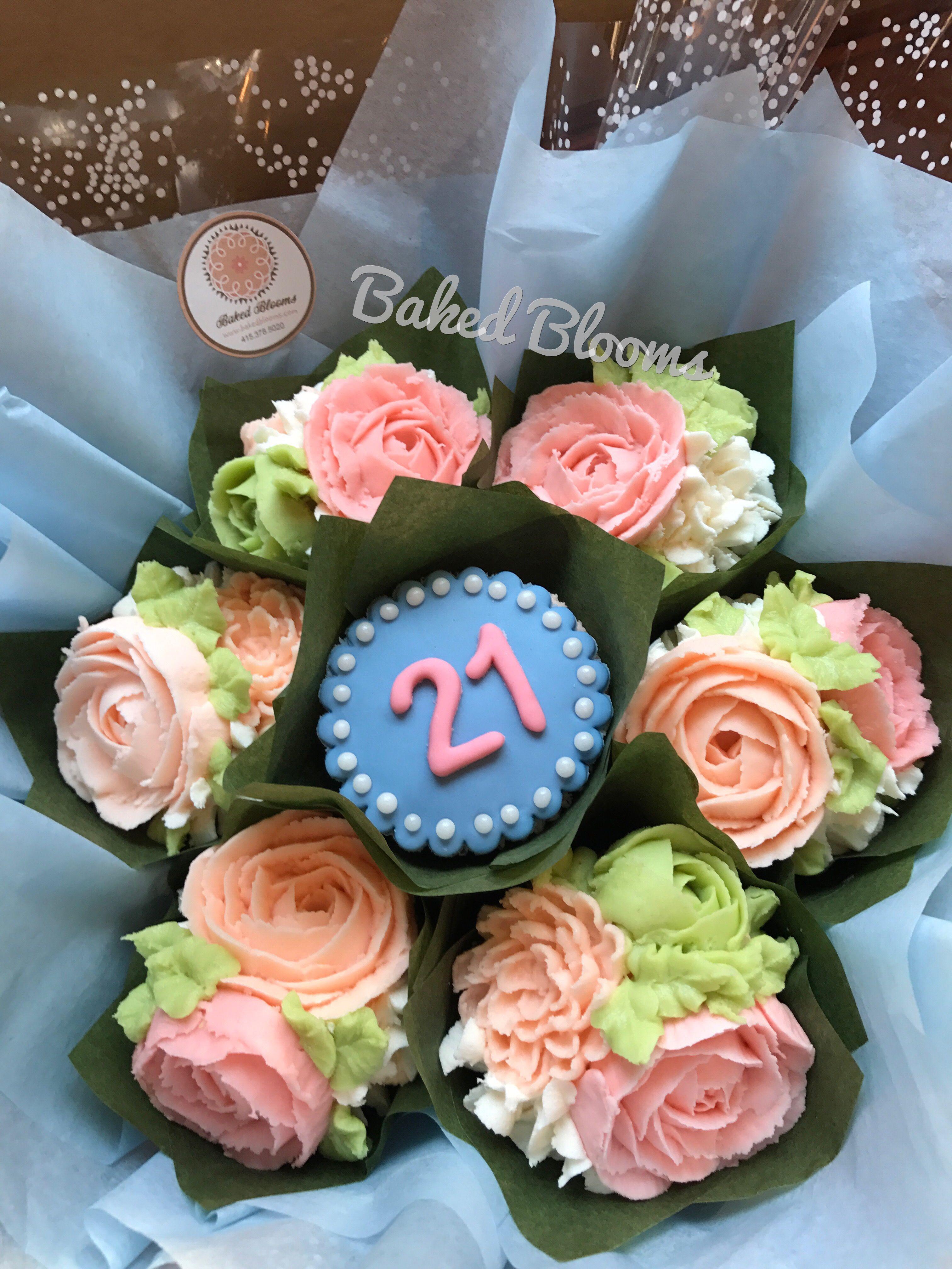 Elegant 21st birthday bouquet www.bakedblooms.com   Baked Blooms ...