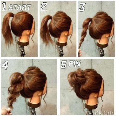 Easy Updos For Shoulder Length Hair Length Shoulder Updos Easyupdos Hair Styles Medium Length Hair Styles Long Thick Hair