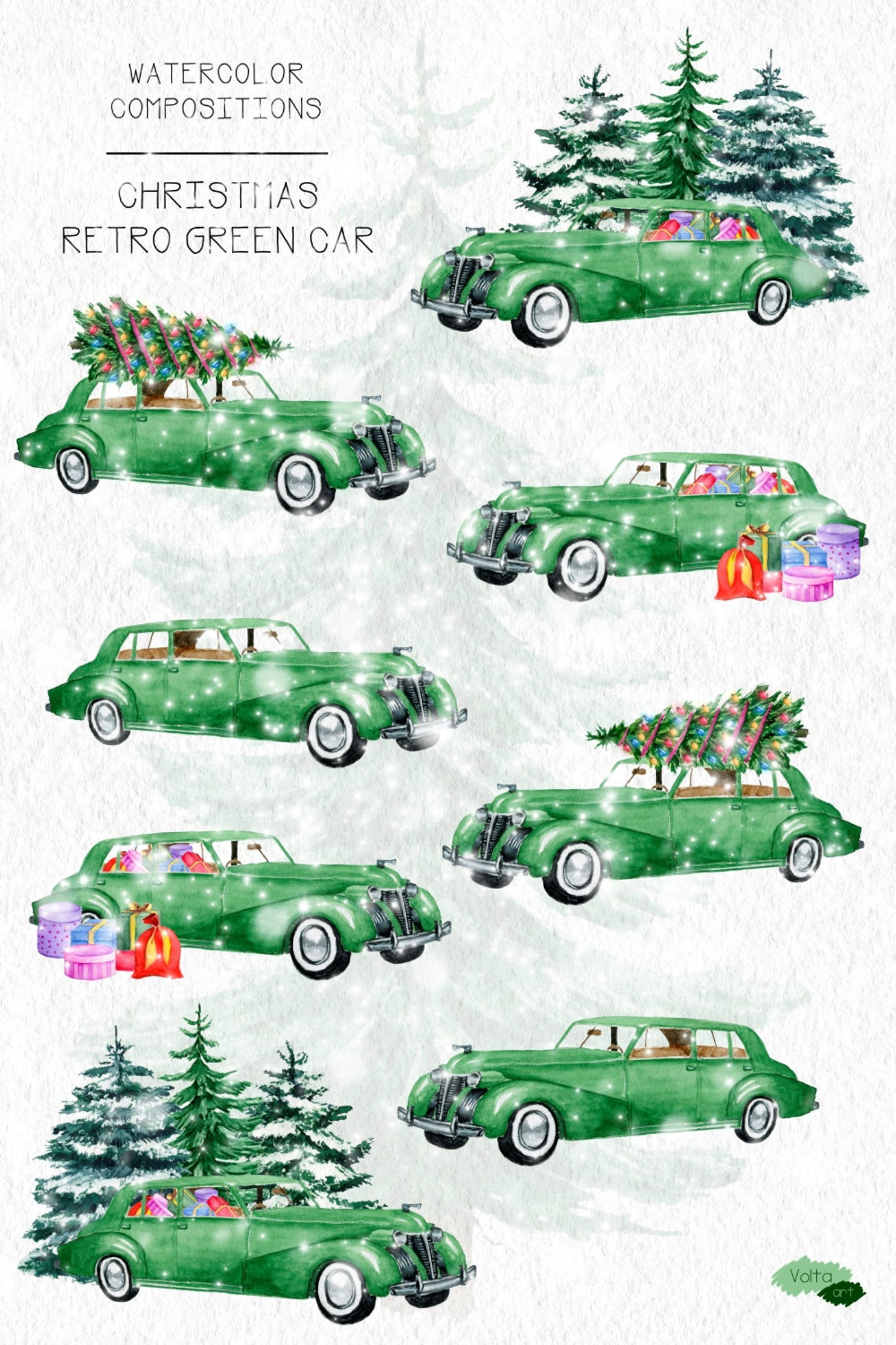 Christmas Car Commercial 2021 Watercolor Green Christmas Car Retro Christmas Car Pine Etsy In 2021 Christmas Car Retro Christmas Green Christmas