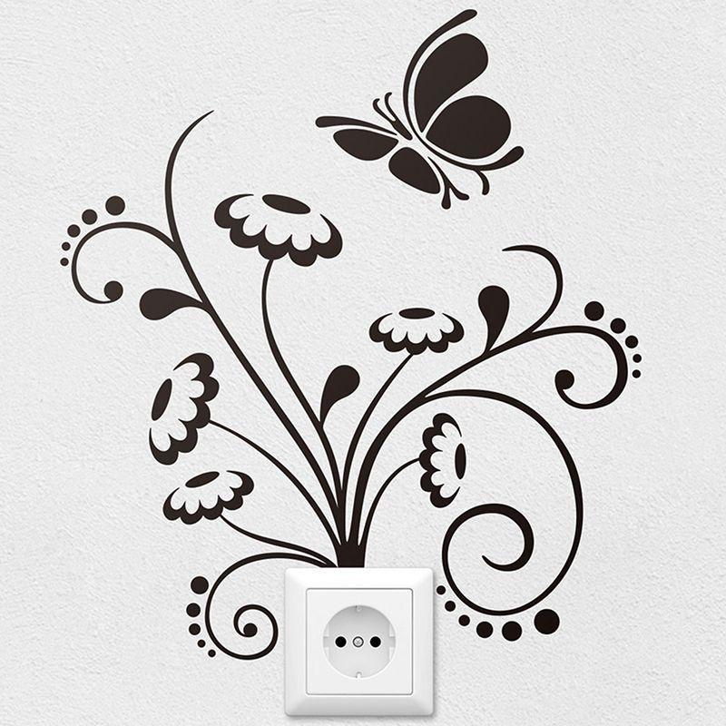 Vinilos Decorativos Flores Y Mariposas 1 Pinturas De Pared Decorativas Diseno De Pintura De Pared Decoracion De Pared