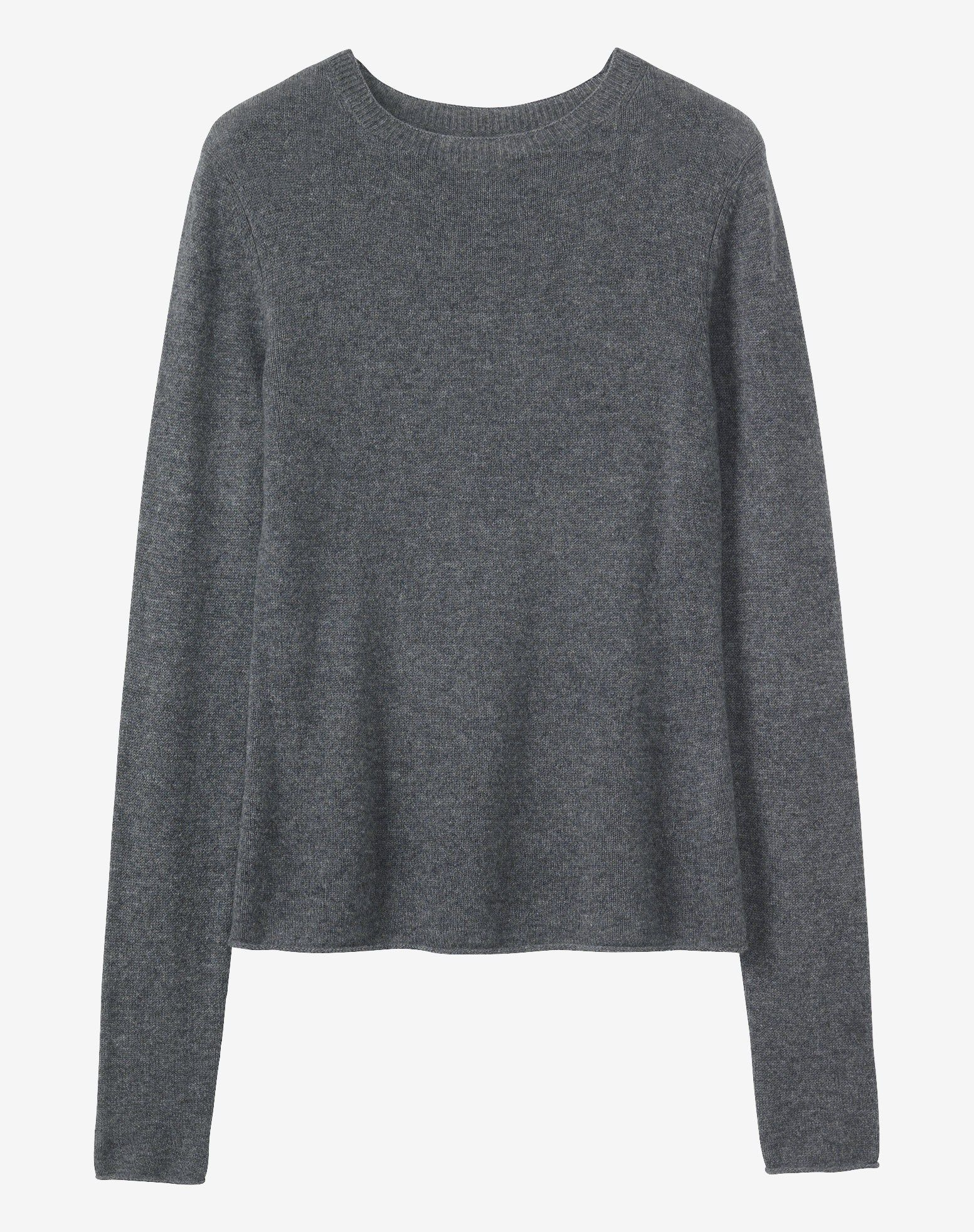 Neatly fitting pullover in a featherweight, soft and lofty cashmere/wool. Slightly dropped shoulders. Very long, cosy sleeves. Rolled edge at cuffs and hem.