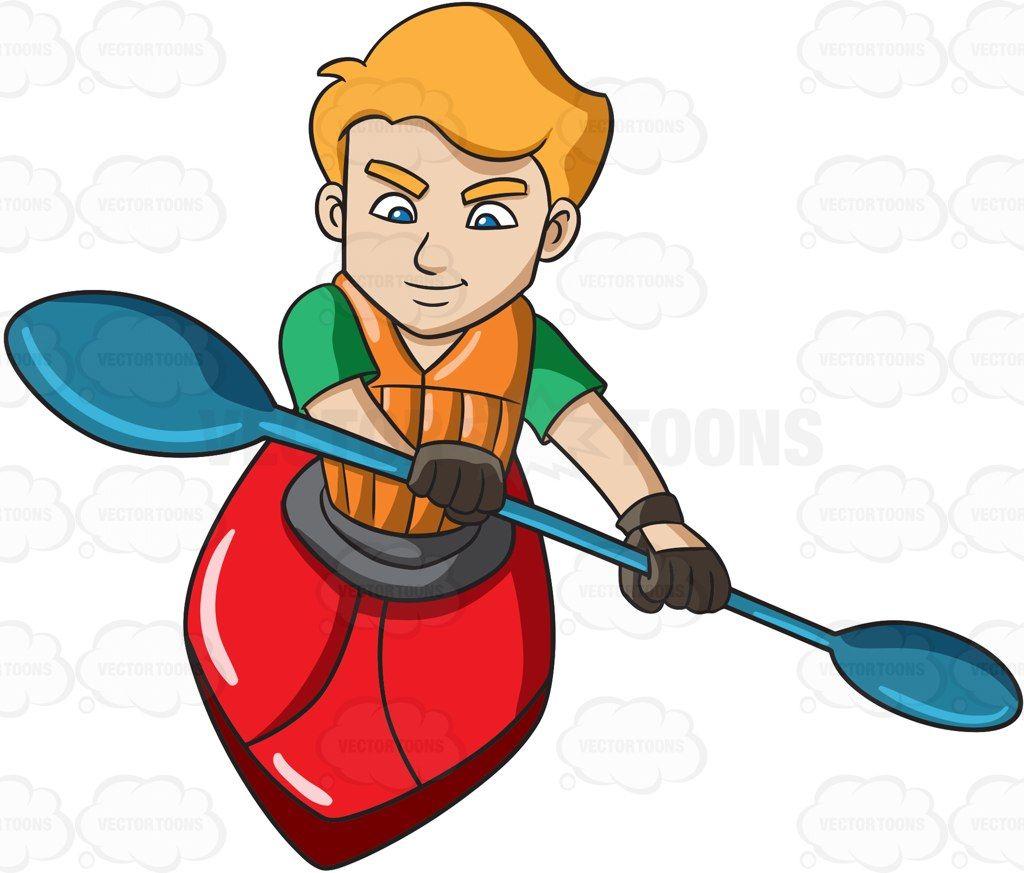 A Man Paddling Kayak Boat Cartoon Clipart Vector Vectortoons Stockimage Stockart Art