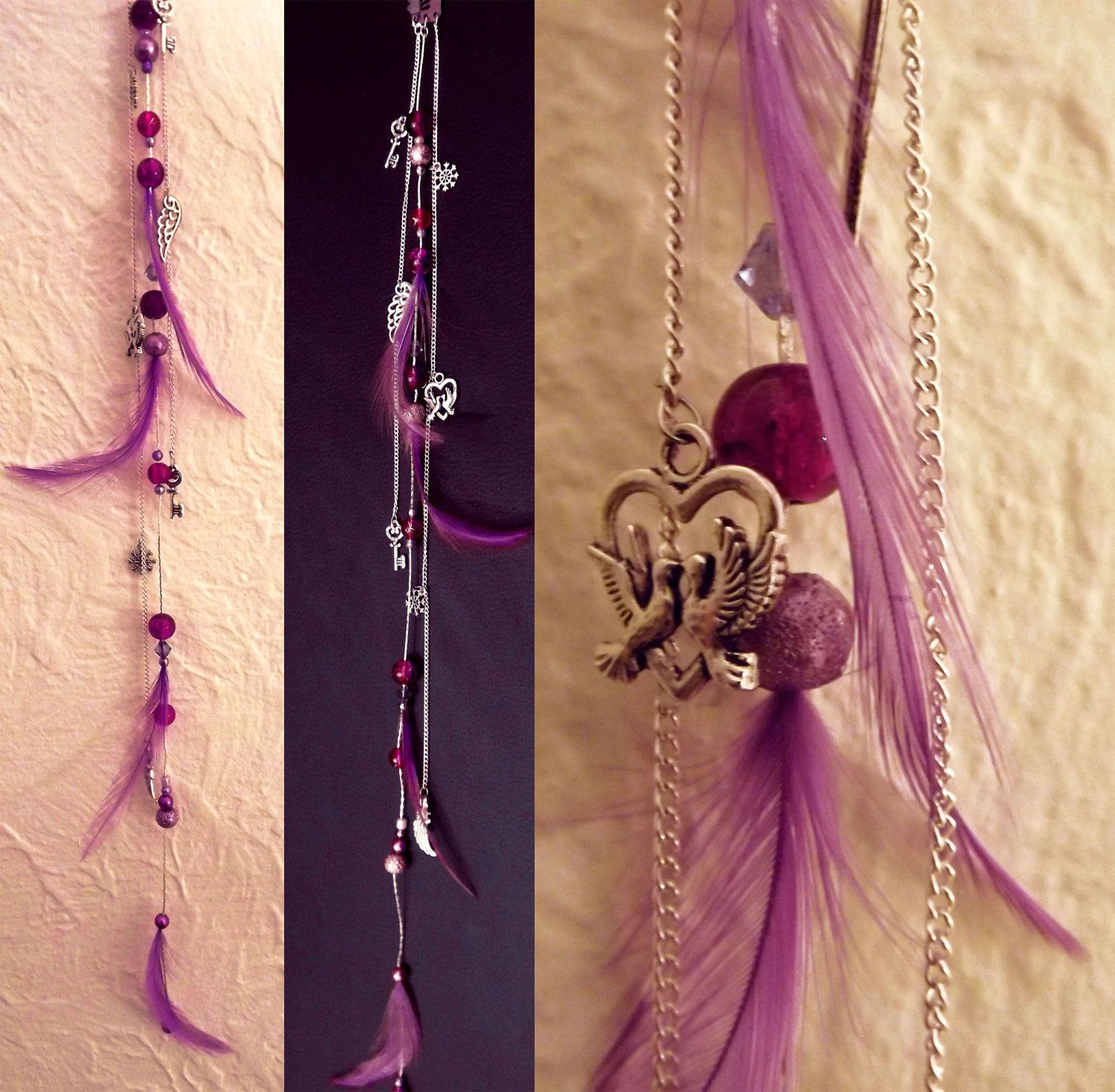 Purple boho feather clip in hair charm extension, silver ...