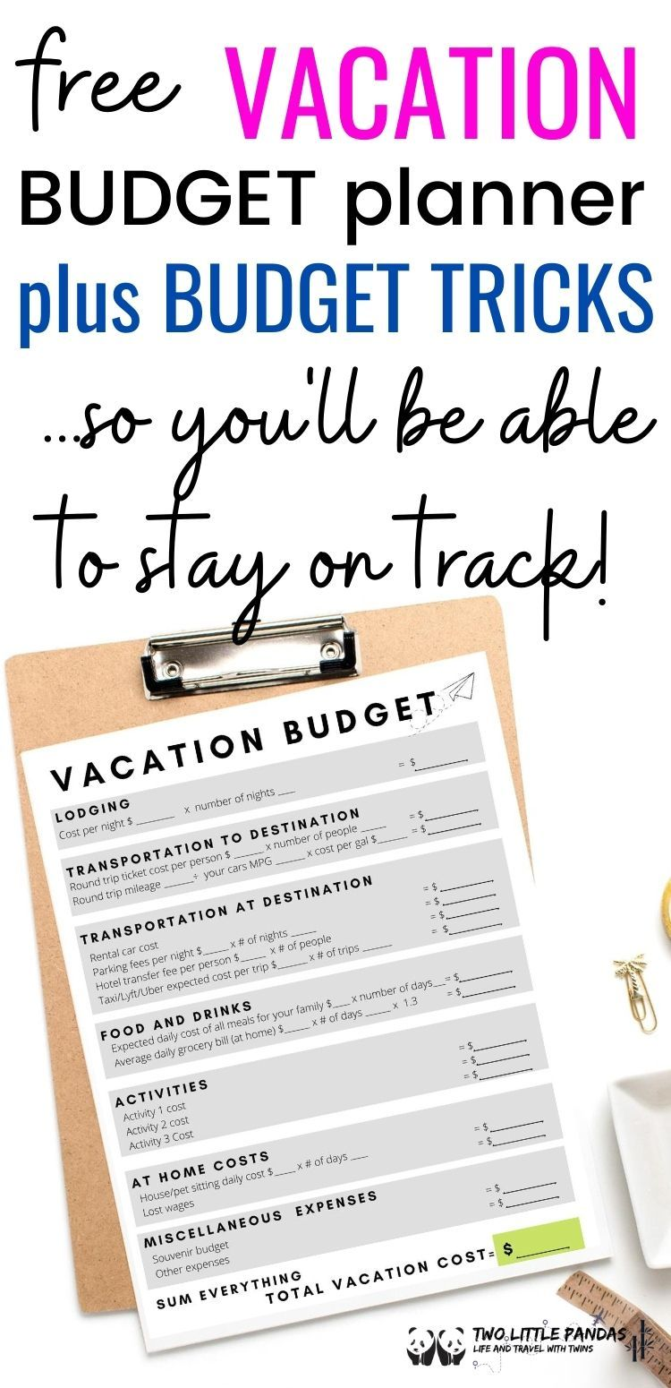 How To Create A Realistic Vacation Budget Vacation Budget Planner Trip Planning Template Vacation Budget Template