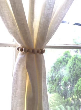 Curtain Panel Tie Back Diy For The Home Using Wooden Beads Small