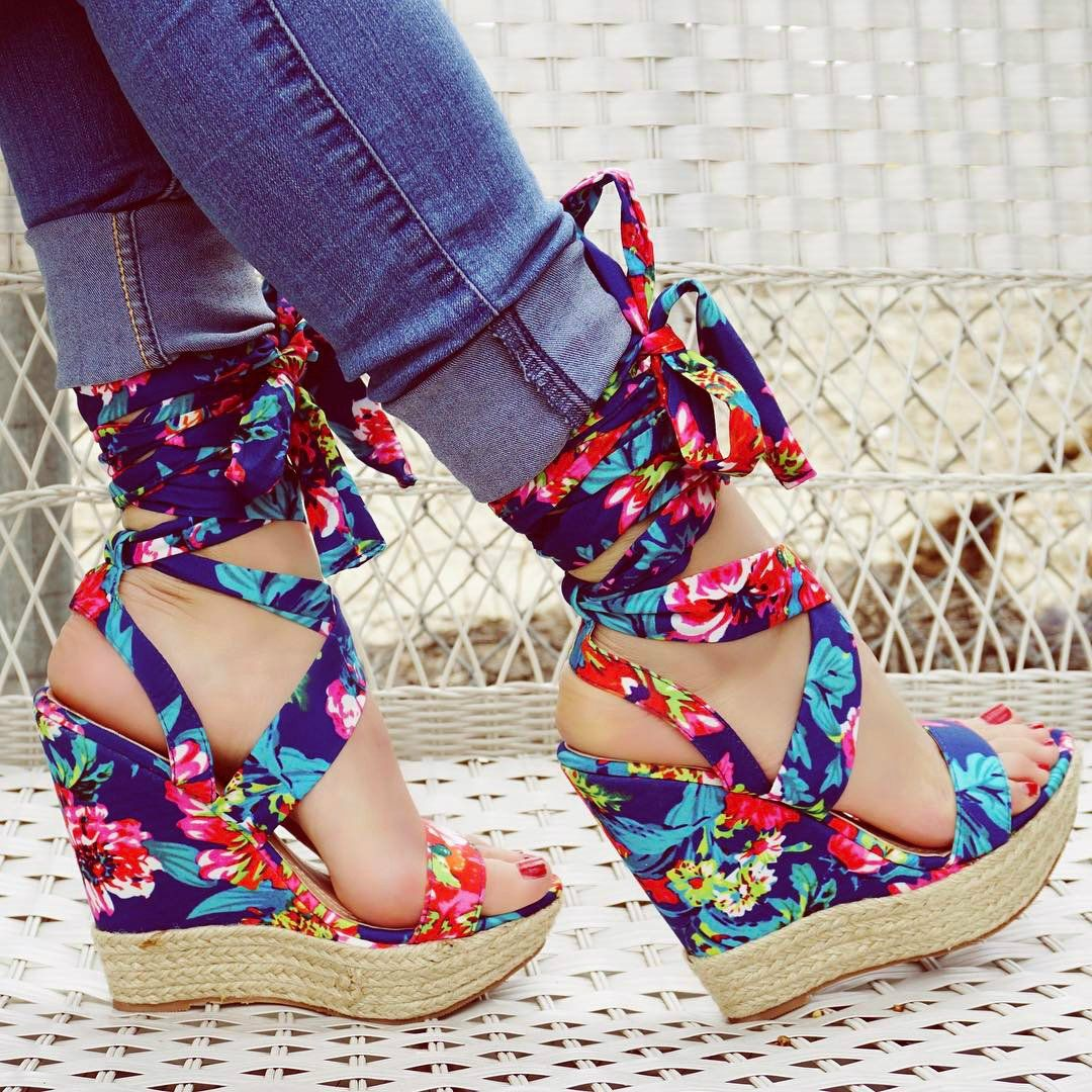 Peep Toe Printed Platform Wedges Wedges Pinterest Shoes Heels