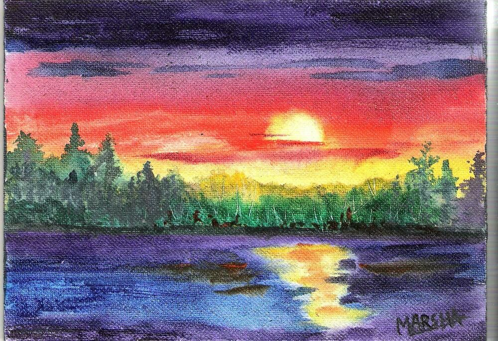 Art Watercolor Painting Sunset Reflections Water Lake Blue Orange