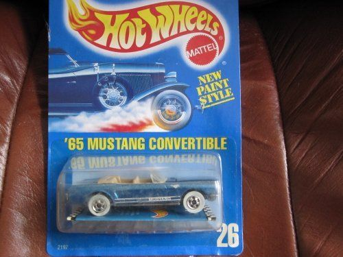 65 Mustang Convertible All Blue New Paint Stlye Card 1987 Hot Wheels #26 Metallic Blue White Walls by Mattel. $4.99. realistic exterior. white walls. Metallic Dark Blue paint. All Blue New paint stlye card 1987 Hot Wheels #26 Metallic Blue White Walls. new paint style all blue card. All Blue New paint stlye card 1987 Hot Wheels #26 Metallic Blue White Walls