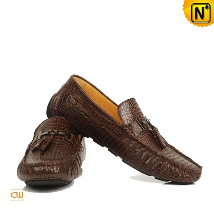 Croc-embossed leather loafers Tod's