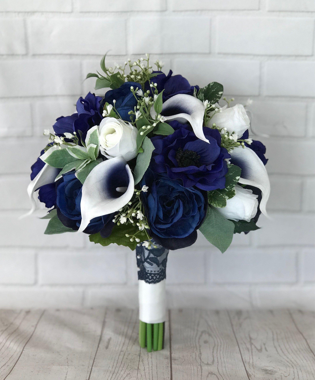 Navy bridal bouquet,Wedding bouquet,Bridal bouquet,Navy wedding flowers,Silk flowers,Wedding accessories,Calla lily bouquet,Something Blue -   16 wedding Bouquets bridesmaids ideas
