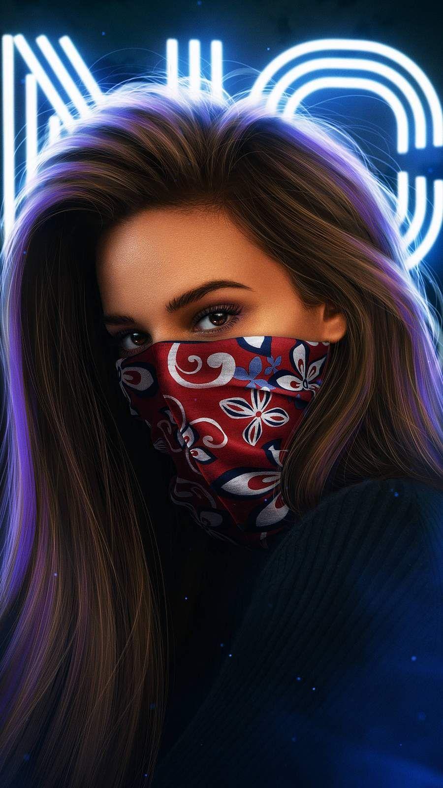 Masked Girl Iphone Wallpaper In 2020 Girl Iphone Wallpaper Beautiful Girl Drawing Mask Girl