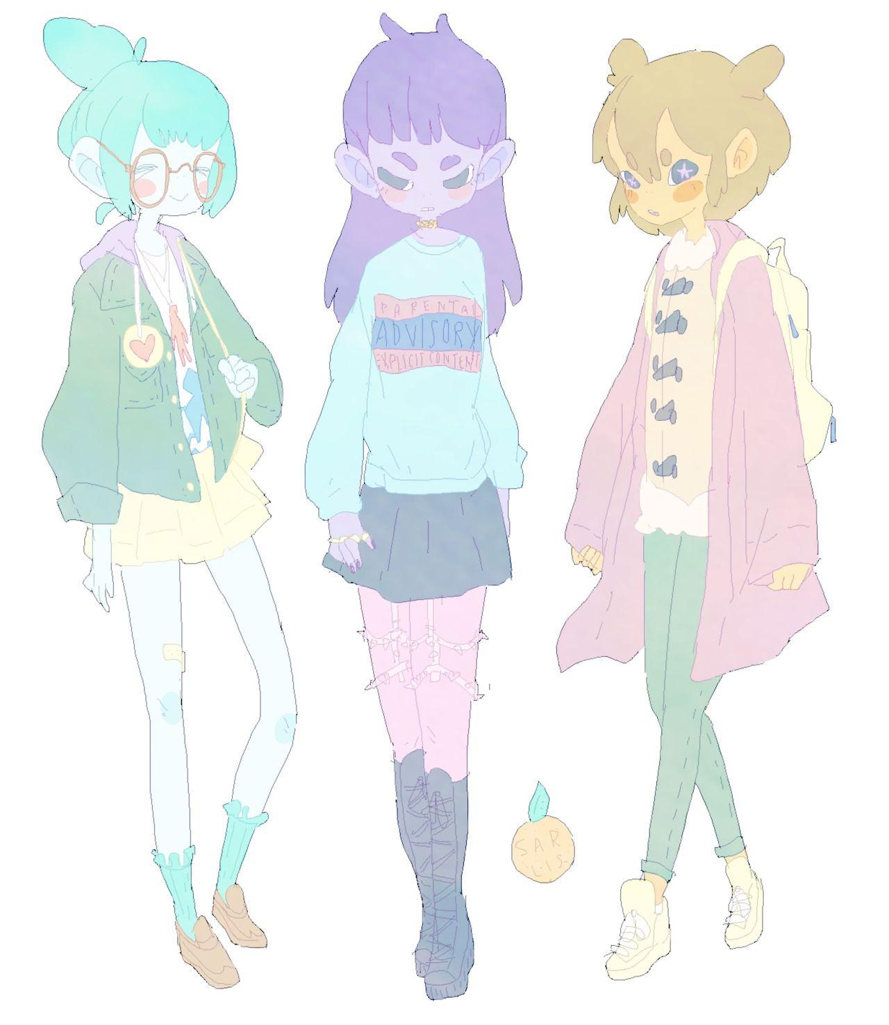 . (Pastel Faded Space Girls Cartoon)