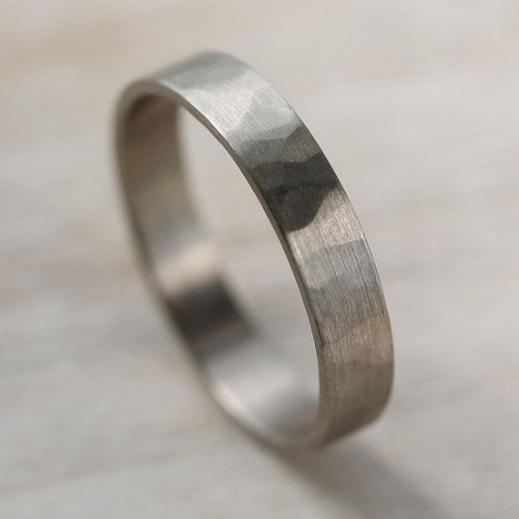 Hammer Textured Narrow Men S Wedding Band 4mm Or 5mm Wide 1mm