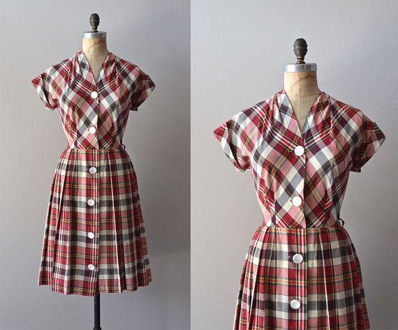 vintage plaid 50s dress / cotton 1950s dress / Tertiary Prep dress on Etsy, $152.49 AUD