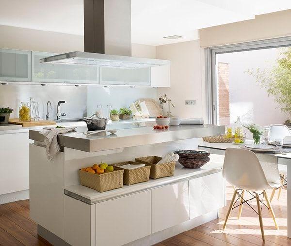 Isla de cocina con barra home decor pinterest Cocinas pequenas modernas con barra