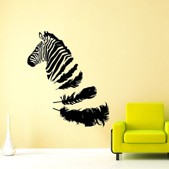 Wall Decals Feathers Zebra Animals Jungle Safari African Decor Kids ...