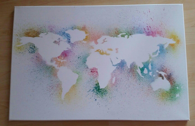 Weltkarte Auf Leinwand Mit Wasserfarben Weltkarte Leinwand