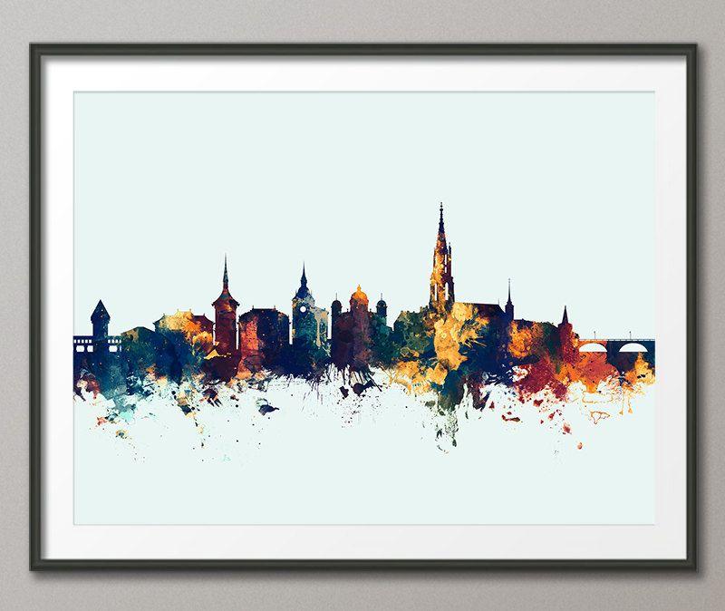 Bern Skyline Geneva Switzerland Cityscape Art Print 2689 By ArtPause On Etsy