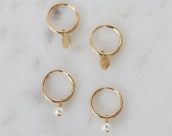 Tiny Hoop Earrings Gold Mini Cartilage Small