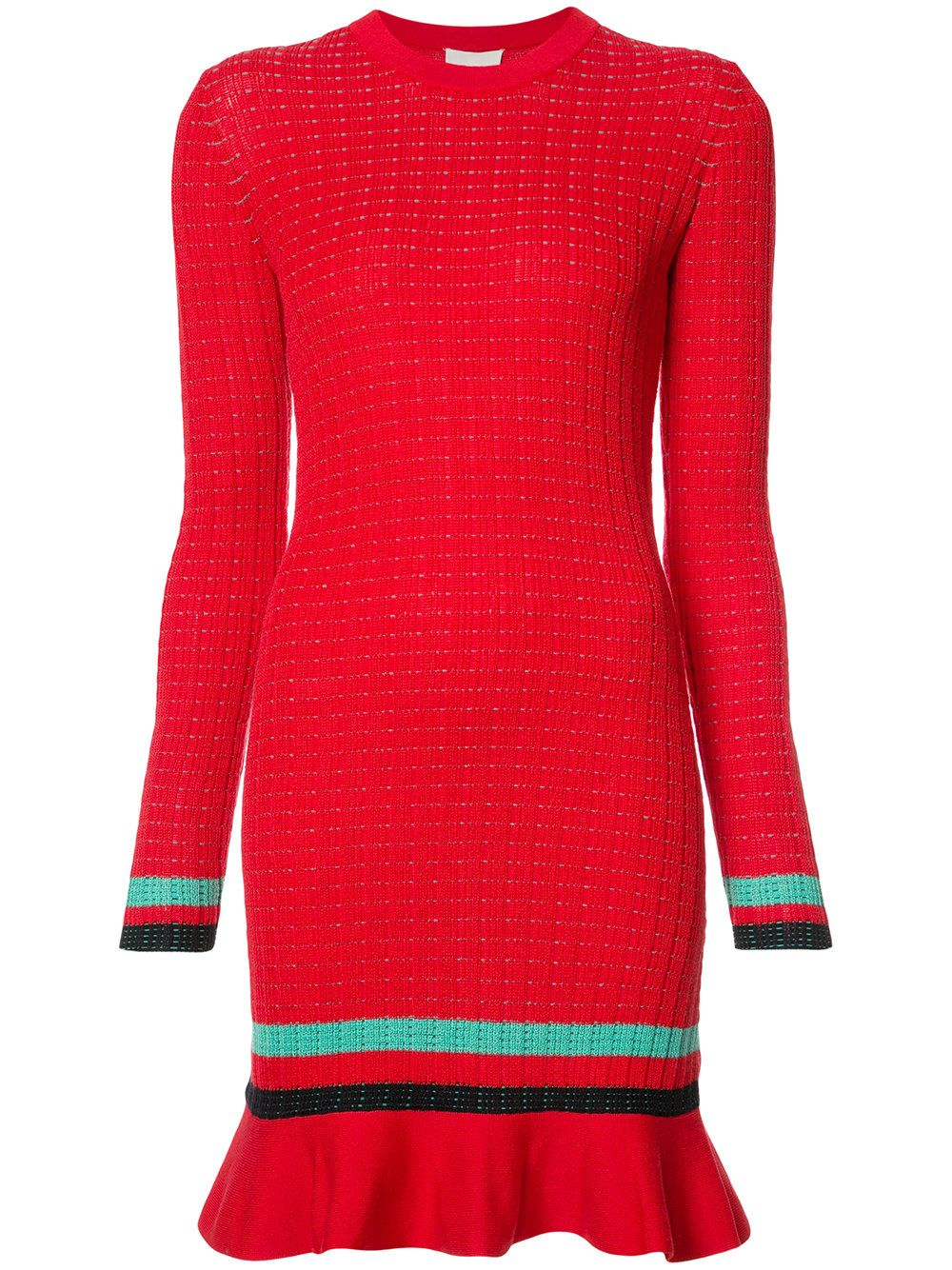 Red stretch cotton long sleeve knit dress from 3.1 Phillip Lim featuring a round neck, horizontal stripes, a short length and a peplum hem.