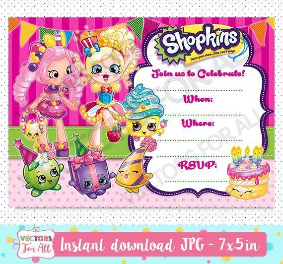 Shopkins Fill In Invitation Invite Birthday I