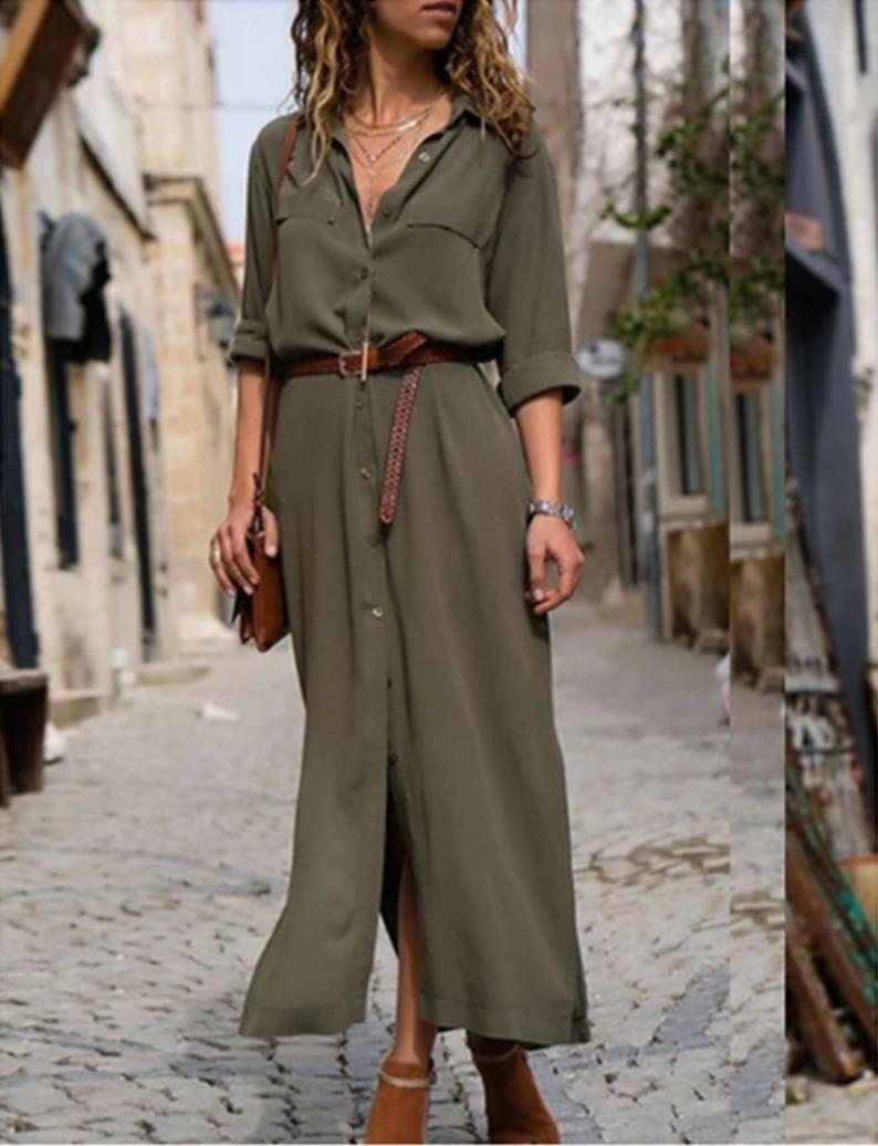 Women S Maxi Sheath Dress 3 4 Length Sleeve Solid Color V Neck Women S Dress Shirt Office Dress Women S Dress Linen Dress Maxi Dress With Sleeves Elegant Dresses Long Summer Dresses For Women [ 1036 x 794 Pixel ]