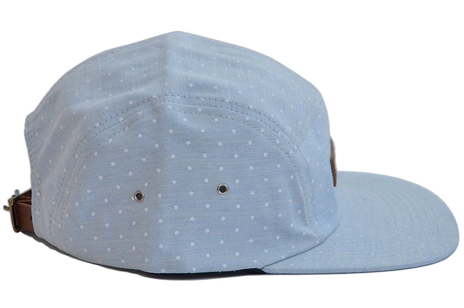5 Panel Hat Collection With Genuine Leather Strap Multiple Colors Baby Blue Polka Dot Ci12i0tlce7 Panel Hat Leather Straps Blue Polka Dots