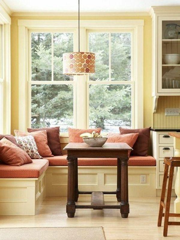 esszimmer bank dekokissen ecke leuchter fenster. Black Bedroom Furniture Sets. Home Design Ideas