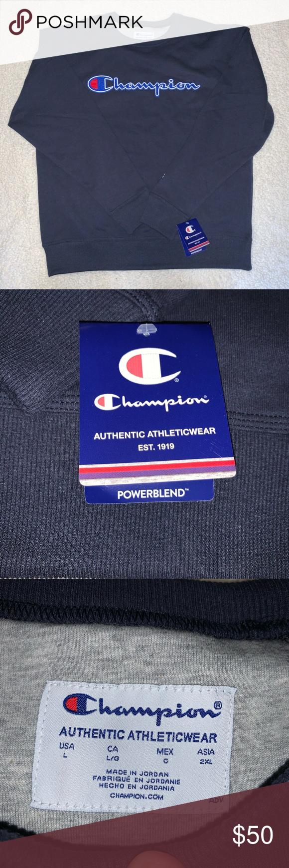 Champion Sweatshirt Authentic Athleticwear Size Large Champion Sweaters Champion Sweatshirt Sweatshirts Clothes Design [ 1740 x 580 Pixel ]