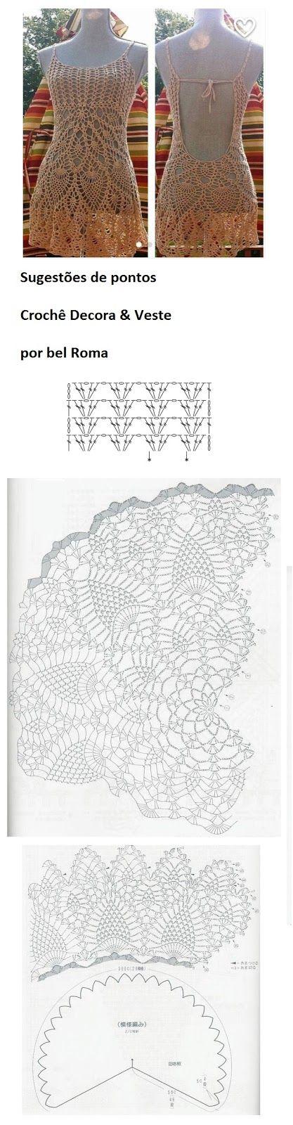 Crochê Decora & Veste: Vestidos Com Gráficos #1 | vestido crochet ...