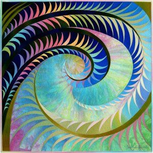 Cosmic Feathers #1 © 2013 Art Quilt by Caryl Bryer Fallert-Gentry, Paducah KY & Port Townsend WA