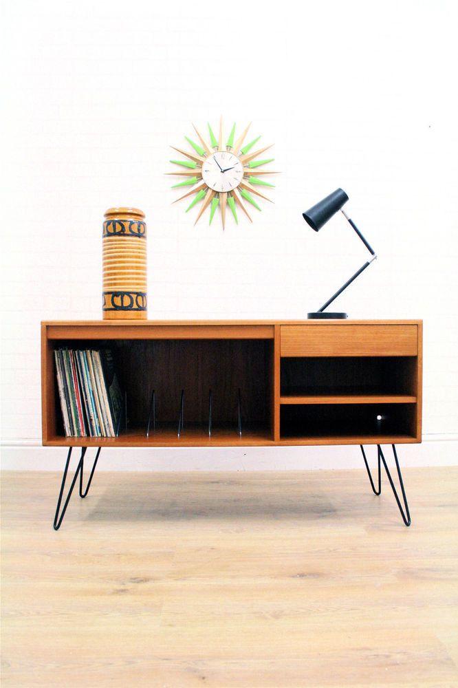 Vintage teak g plan sideboard record storage industrial hairpin legs TVs, Teak and Vintage