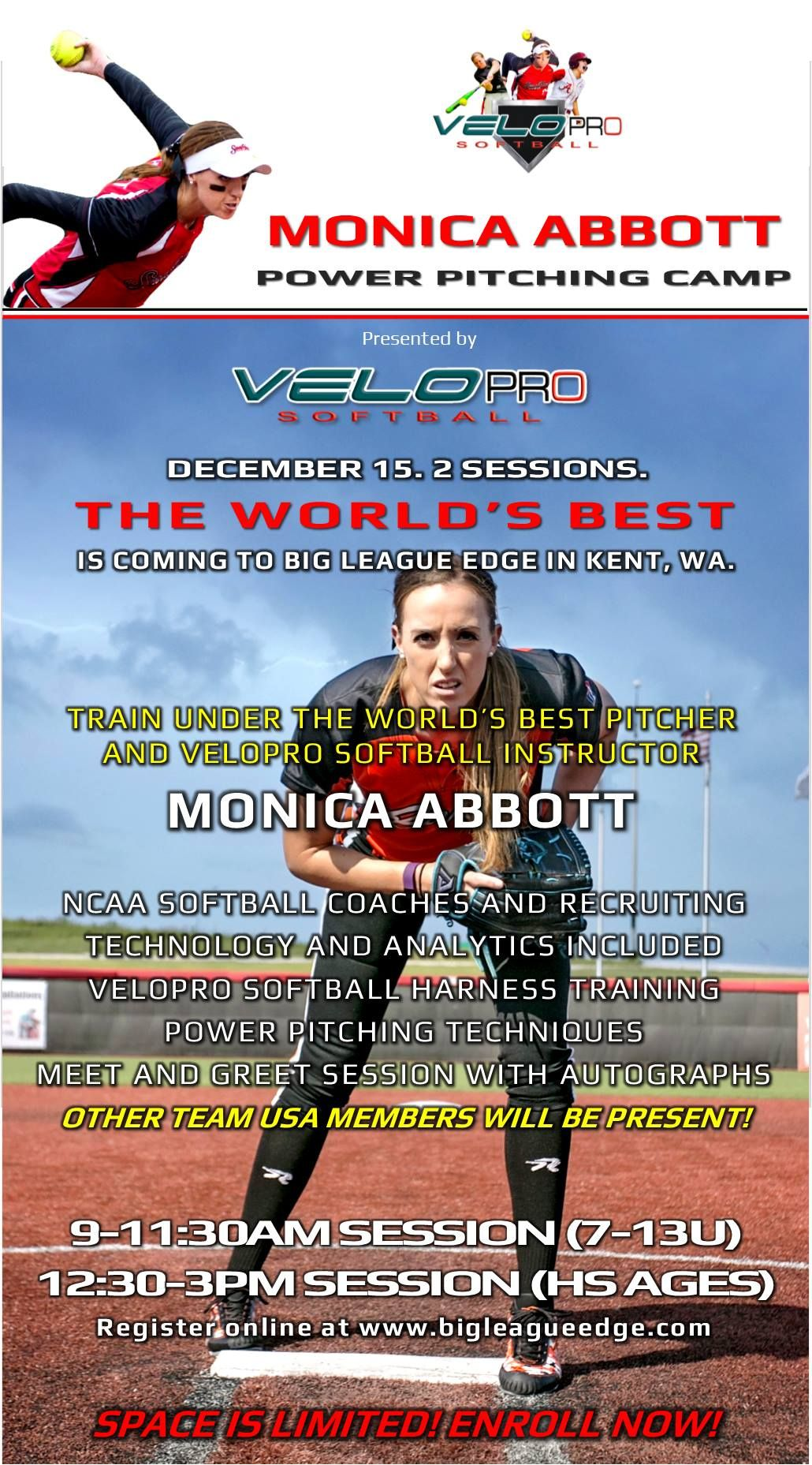 We Are 75 Filled For The Monica Abbott Power Pitching Camp Again Tremendous Opportunity That Is Not Found In The Pn Monica Abbott Softball Baseball Training