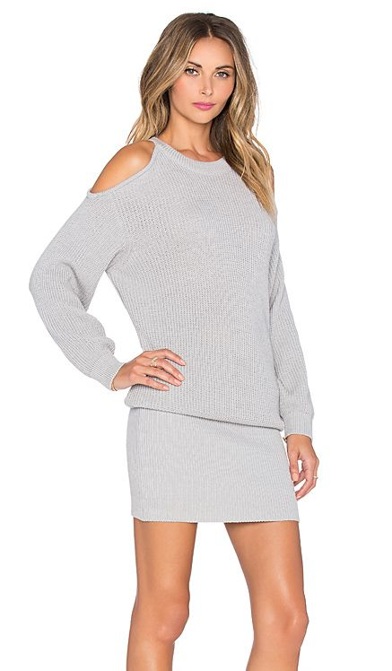 J.O.A. Cold Shoulder Sweater Dress in Grey | REVOLVE