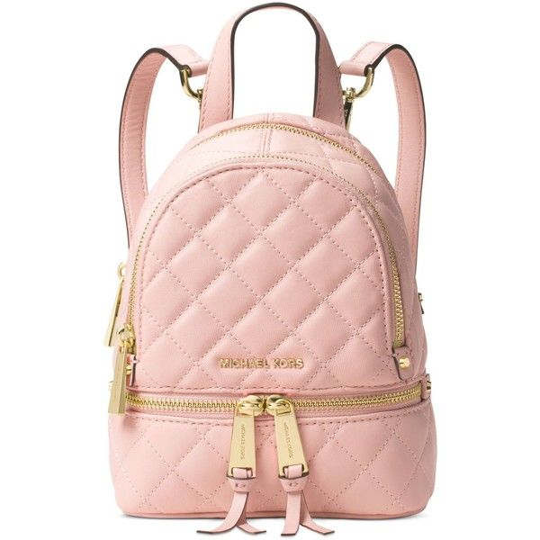 3a66feee84bedb Michael Michael Kors Rhea Zip Mini Messenger Backpack ($258) ❤ liked on  Polyvore featuring bags, backpacks, blossom, pink mini backpack, miniature  backpack ...