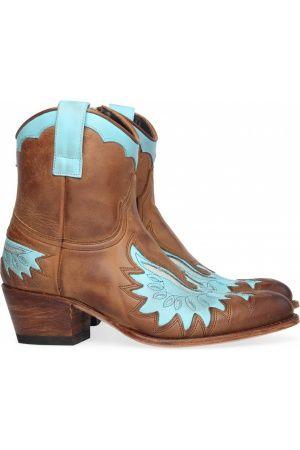 Sendra enkellaarsjes in bruin en turquoise   kleding Boots