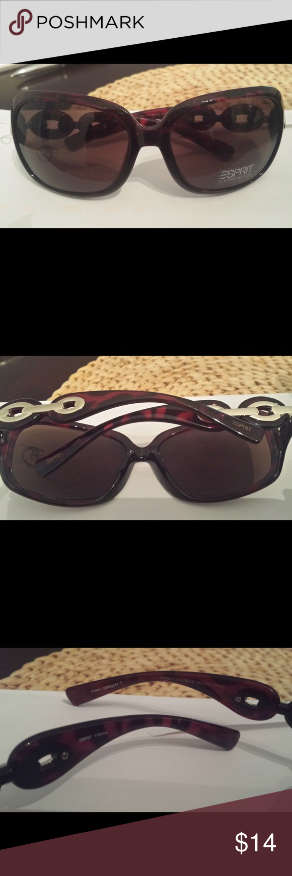 ESPRIT SUNGLASSES Women's Esprit sunglasses. Animal print with gold accents. Gold accent on one side has tiny scratches. Brand new never used. ESPRIT Accessories Sunglasses