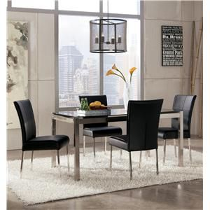Baraga 5-Piece Modern Table Set with Black Tempered Glass Table Top ...