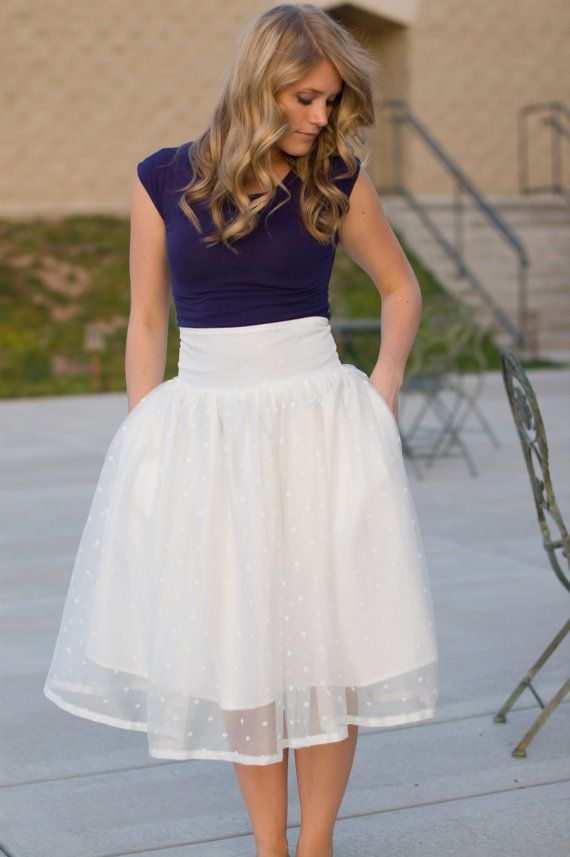Ivory Polka Dot Tutu Skirt by Bennair on Etsy, $82.00