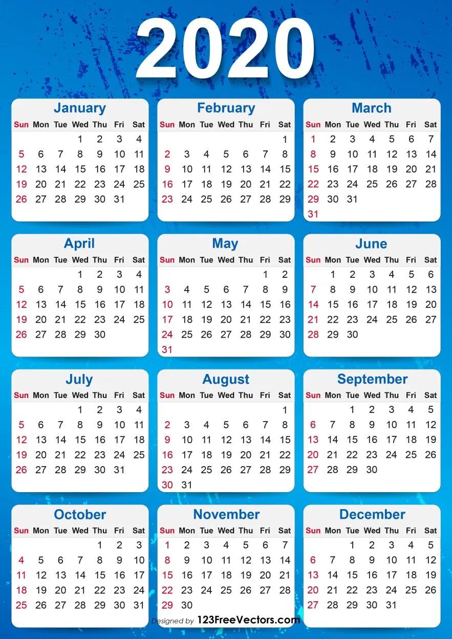 2020 Yearly Calendar Printable Calendar Printables Yearly Calendar Template Printable Yearly Calendar