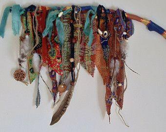 Mobili Shaker ~ Bohemian mobile spirit stick kantha flag tribal shaker music