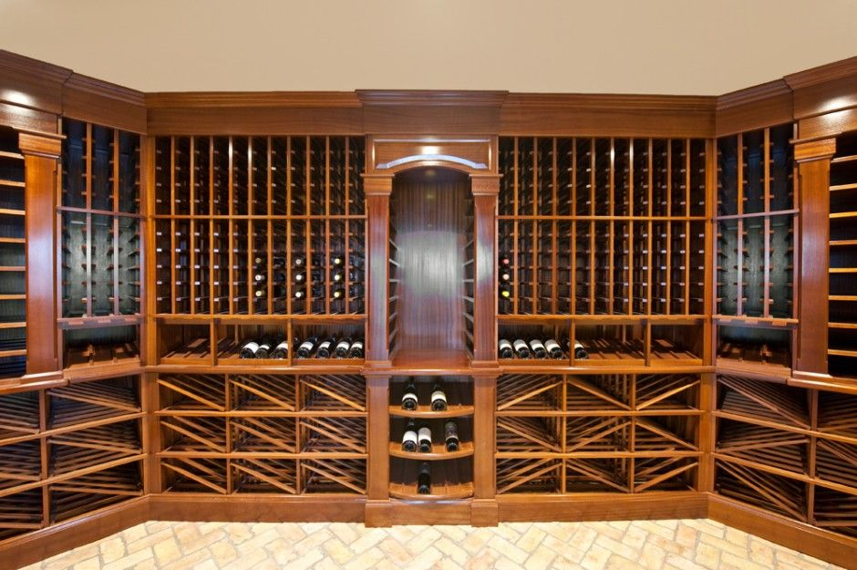 Sapele wood 1 900 bottle wine cellar with recycled for Wine cellar in floor