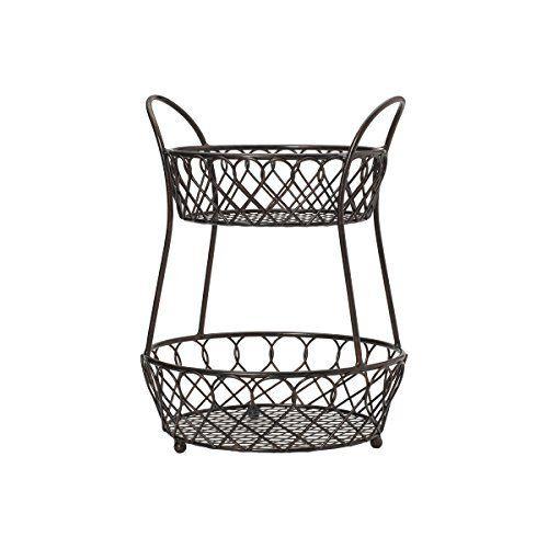 Wall Mounted Scrollwork Design Deluxe 3 Tier Silver Iron Fruit Basket /  Kitchen Storage Rack